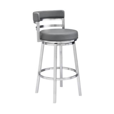 Madrid Contemporary 26 in. Counter Height Bar Stool in Brushed Stainless Steel and Grey Faux Leather
