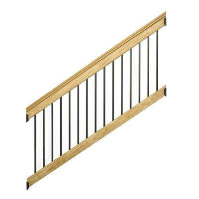 6 ft. Pressure-Treated Stair Railing Kit with Black Aluminum Balusters