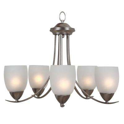 Mirror Lake 5-Light Brushed Nickel Hanging Chandelier with White Etched Glass Shade