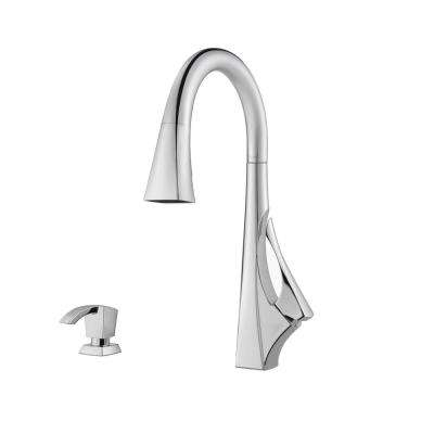 Venturi Single-Handle Pull-Down Sprayer Kitchen Faucet with Soap Dispenser in Polished Chrome