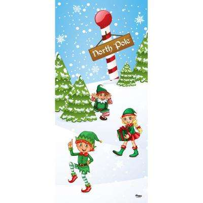 36 in. x 80 in. North Pole Elves-Christmas Front Door Decor Mural