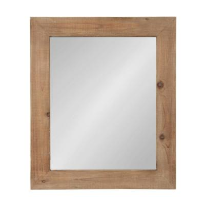 Medium Rectangle Rustic Brown Classic Mirror (36 in. H x 30 in. W)