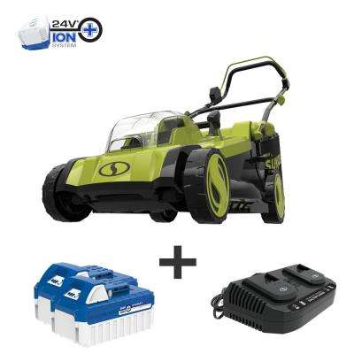 17 in. 48-Volt iON+ Cordless Electric Walk Behind Push Lawn Mower Kit with 2 x 4.0 Ah Batteries Plus Charger