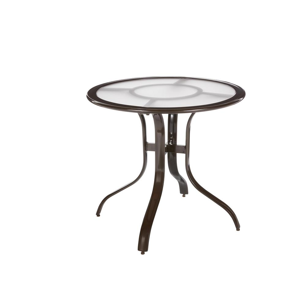 Commercial Aluminum 30 in. Round Outdoor Acrylic Top Bistro Table in