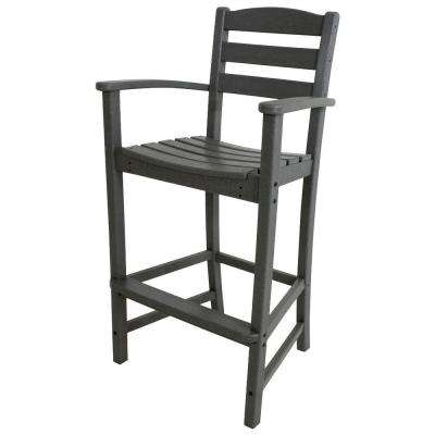 La Casa Cafe Slate Grey Plastic Outdoor Patio Bar Arm Chair