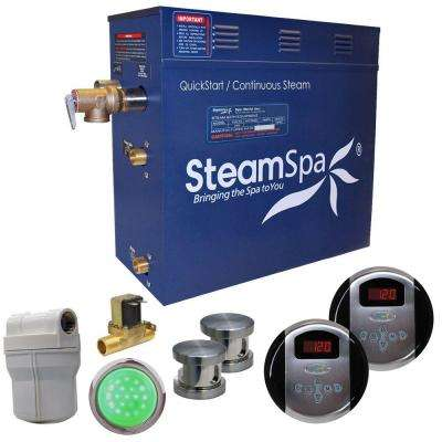 Royal 10.5kW QuickStart Steam Bath Generator Package with Built-In Auto Drain in Brushed Nickel