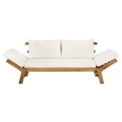 Tandra Natural Brown Wood Outdoor Day Bed with Beige Cushions