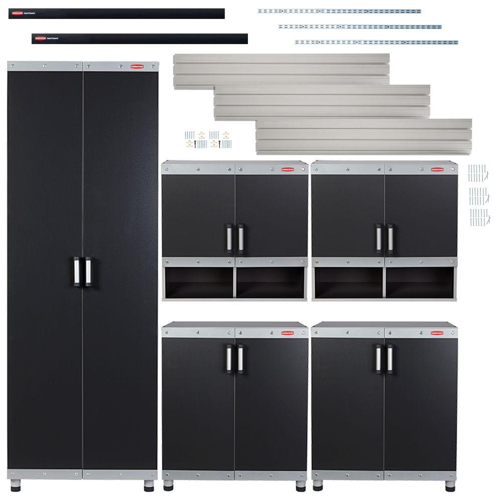 FastTrack Garage Laminate 5-Piece Cabinet Set with Wall Panel