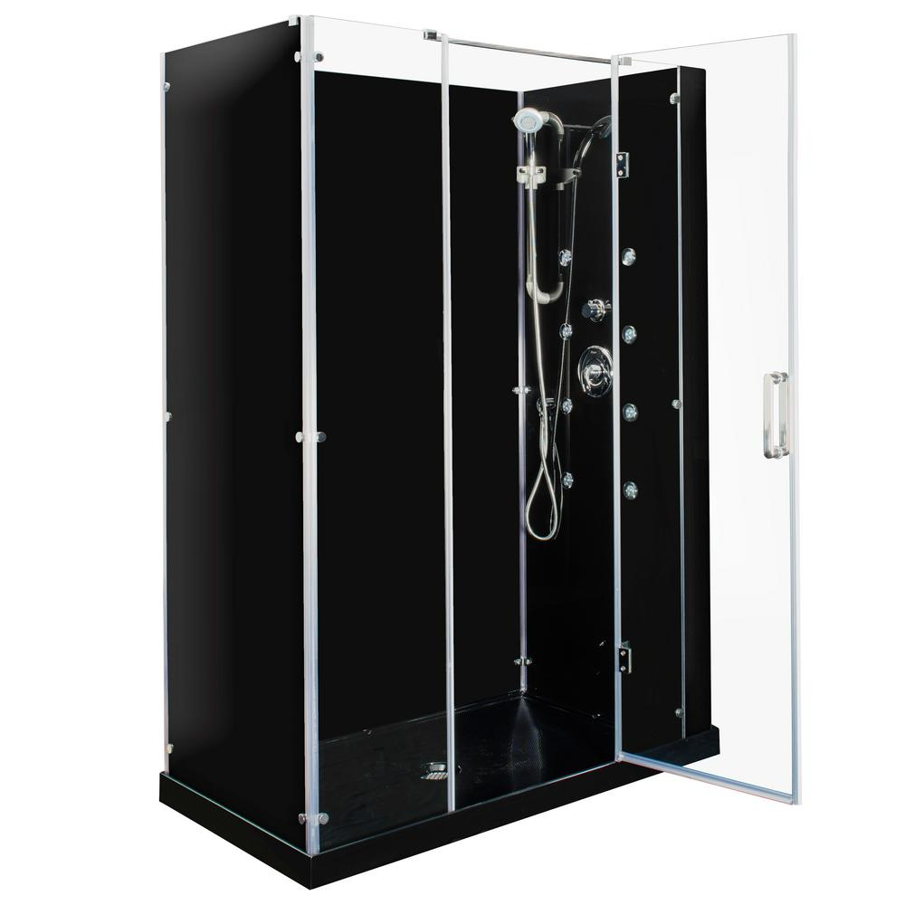 Steam Planet Kascade Hinged 59 in. x 32 in. x 84 in. Center Drain Alcove Shower Kit in Black and Chrome Hardware with 8 Body Jets