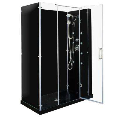 Kascade Hinged 59 in. x 32 in. x 84 in. Center Drain Alcove Shower Kit in Black and Chrome Hardware with 8 Body Jets
