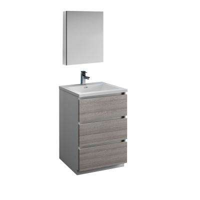 Lazzaro 24 in. Modern Bathroom Vanity in Glossy Ash Gray with Vanity Top in White with White Basin and Medicine Cabinet