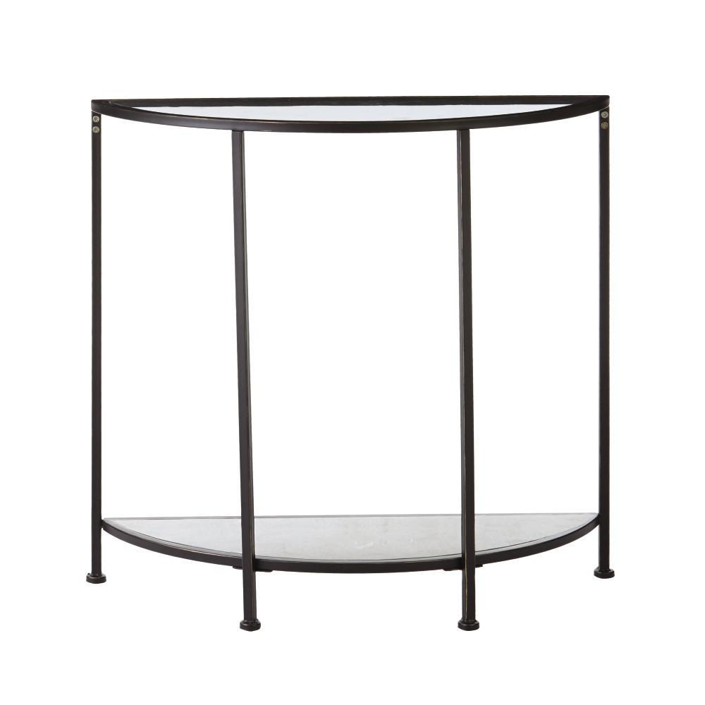 Bella Aged Bronze Demilune Glass Console Table