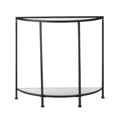 Bella Demilune Antique Bronze Metal and Glass Console Table (32 in. W x 30 in. H)