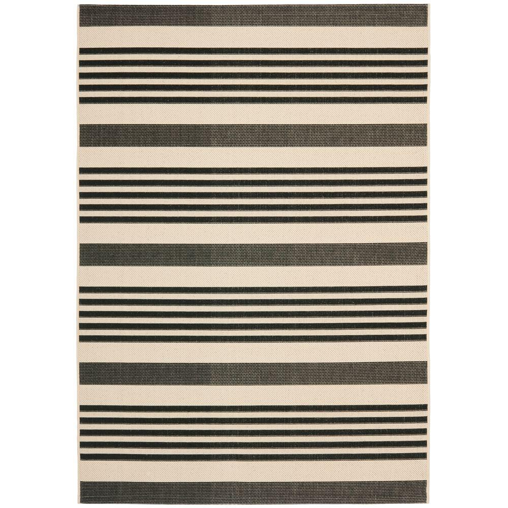 Safavieh Courtyard Black/Bone 4 ft. x 6 ft. Indoor/Outdoor Area Rug ...