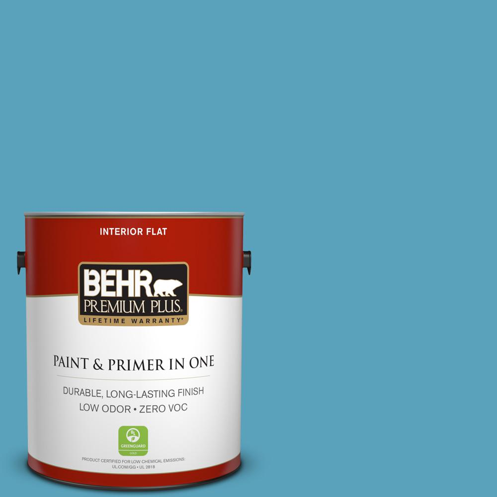 BEHR Premium Plus 1-gal. #540D-5 Tropical Splash Zero VOC Flat Interior Paint