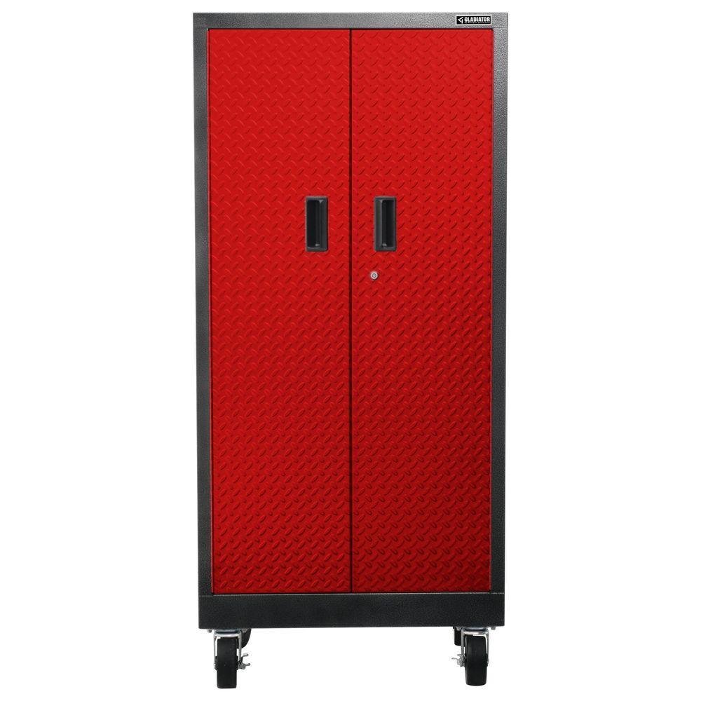 Premier Series Pre-Assembled 66 in. H x 30 in. W x 18 in. D Steel Rolling Garage Cabinet in Red Tread