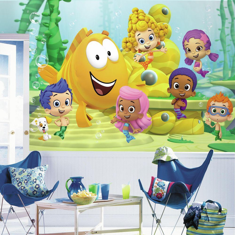 RoomMates 72 in. x 126 in. Bubble Guppies XL Chair Rail 7-Panel ...