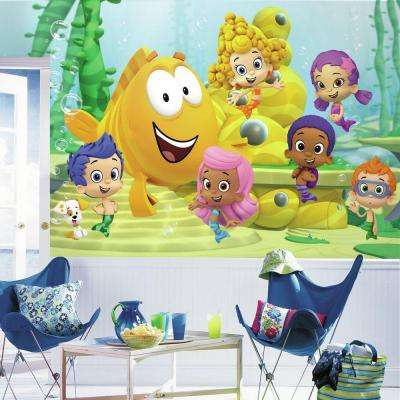 72 in. x 126 in. Bubble Guppies XL Chair Rail 7-Panel Prepasted Wall Mural
