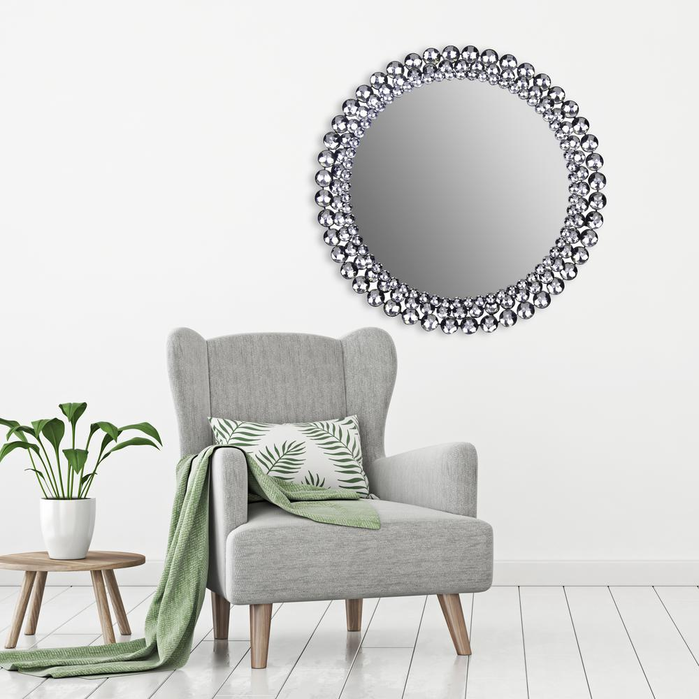 Pinnacle Jeweled Round Silver Decorative Mirror-18FP1411E ...