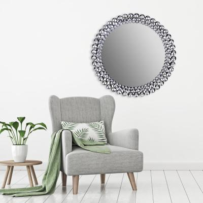 Jeweled Round Silver Decorative Mirror