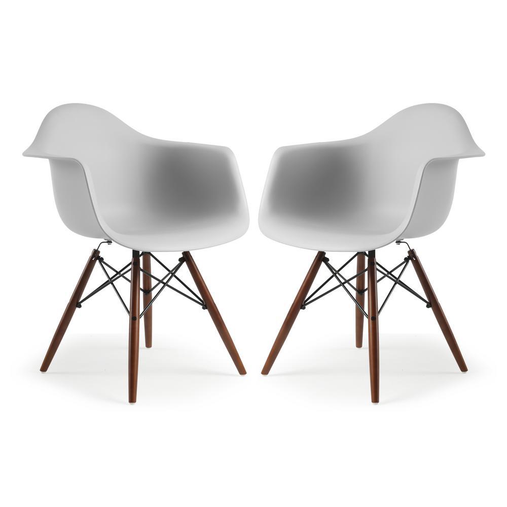 Vortex Harbor Grey Arm Chair Walnut Leg (Set of 2)