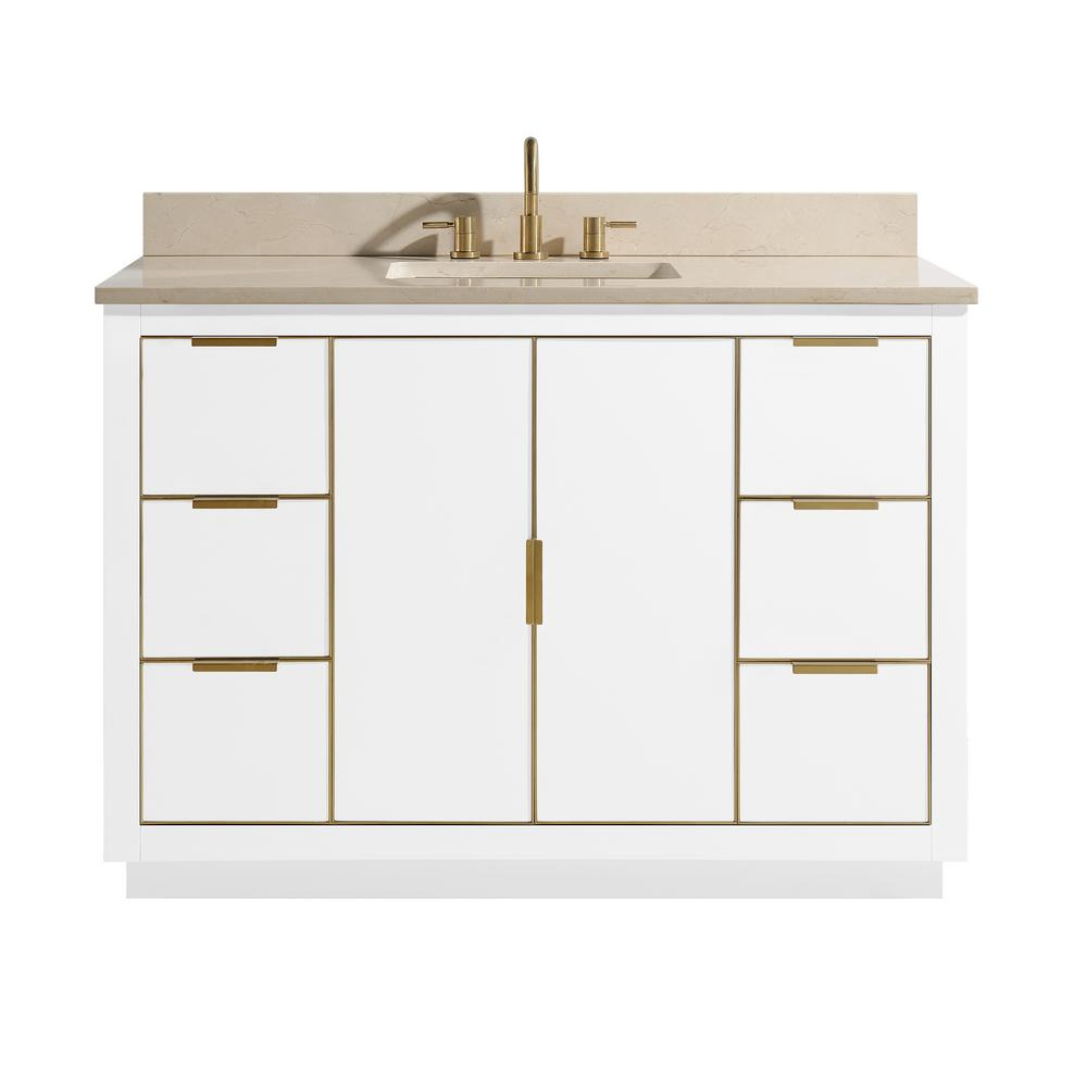 Avanity Austen 49 in. W x 22 in. D Bath Vanity in White with Gold Trim with Marble Vanity Top in Crema Marfil with White Basin