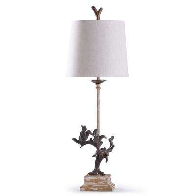 Oakbury 34 in. Bronze Metal and Weathered Wood Floor Lamp with Off White Shade