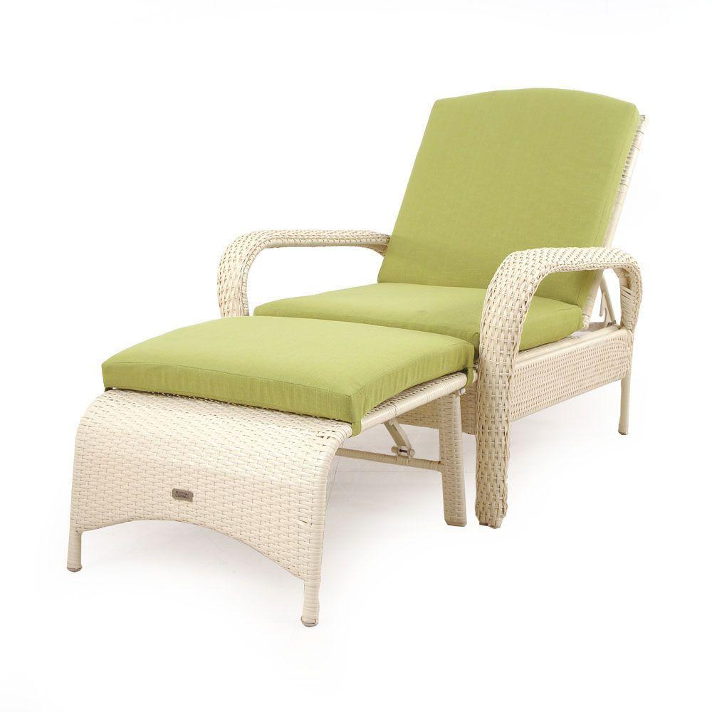 Martha Stewart Living Charlottetown Seashell All-Weather Wicker 2-Piece Patio Chaise Lounge with Green Bean Cushions-DISCONTINUED