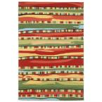 Sinclair Intricate Stripe Warm 8 ft. x 12 ft. Rectangle Indoor/Outdoor Area Rug