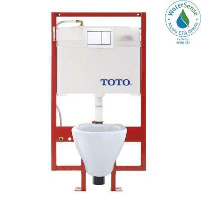 Aquia Duofit 0.9/1.6 GPF Dual Flush Elongated Wall-Mounted Toilet with In-Wall Tank and Copper Supply in Cotton White