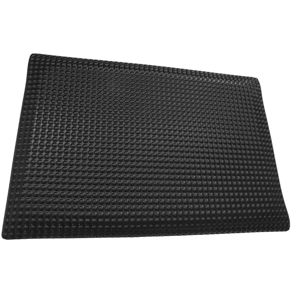 Reflex Double Sponge Glossy Black Raised Domed Surface 24 in. x 72 in. Vinyl Kitchen Mat