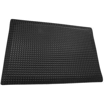 Reflex Double Sponge Glossy Black Raised Domed Surface 24 in. x 72 in. Vinyl Kitchen Mat