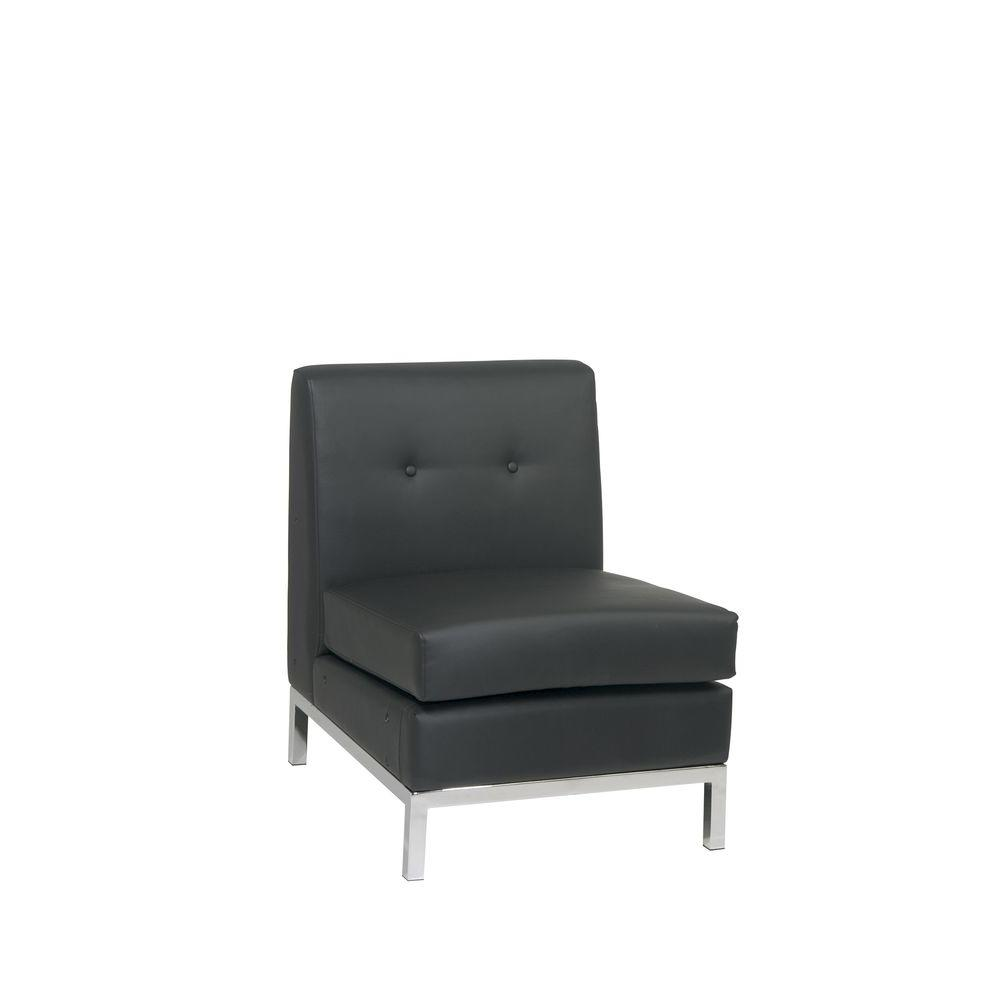 Ordinaire Ave Six Wall Street Black Faux Leather Accent Chair