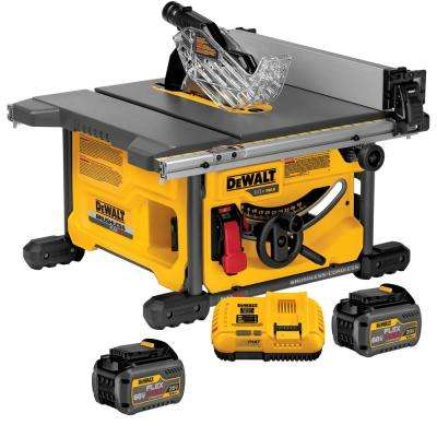 FLEXVOLT 60-Volt MAX Lithium-Ion Cordless Brushless 8-1/4 in. Table Saw Kit with (2) FLEXVOLT Batteries & Charger