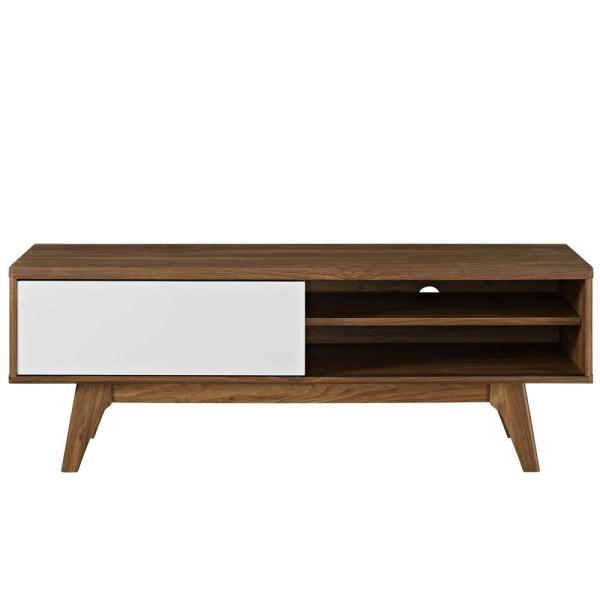 MODWAY Envision 44 in. Walnut White TV Stand EEI-2538-WAL-WHI