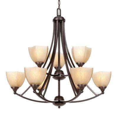 9-Light Copper Bronze Incandescent Ceiling Chandelier with Glass Shade