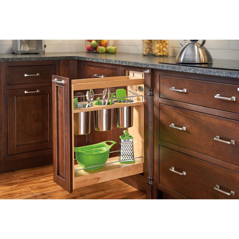 Awesome Kitchen Base Cabinet Pull Outs Part - 11: D Pull-Out Wood Base Cabinet Utensil Organizer With 3 Bins And Soft-Close  Slides-448UT-BCSC-8C - The Home Depot