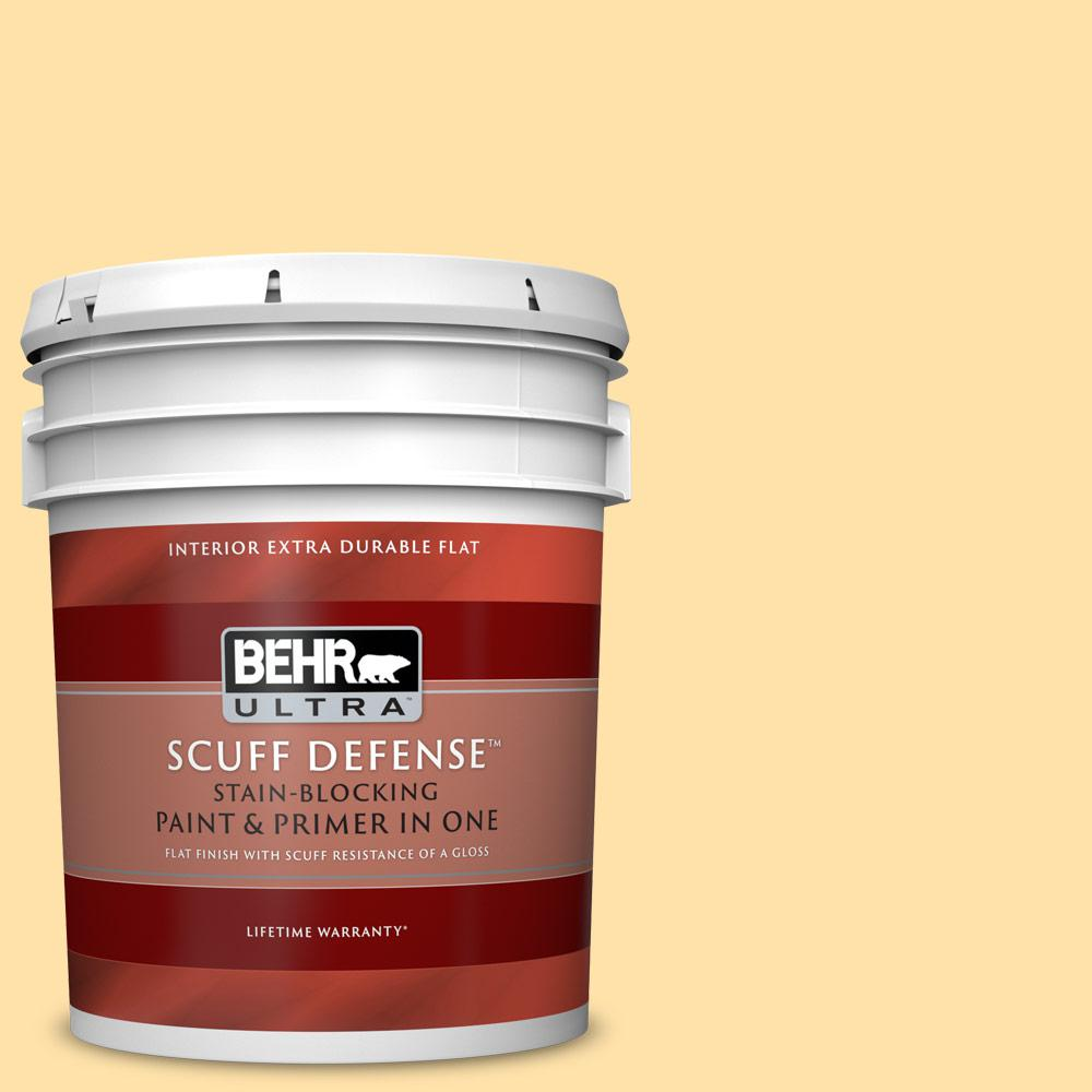 Behr Ultra 5 Gal P270 3 Sunflower Seed Extra Durable Flat Interior Paint And Primer In One 172005 The Home Depot