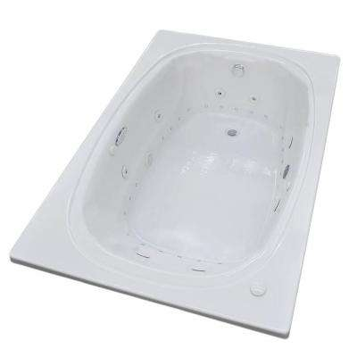 Peridot Diamond Series 6 ft. Right Drain Rectangular Drop-in Whirlpool and Air Bath Tub in White
