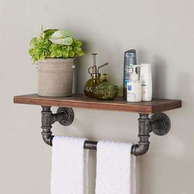 24 in. Silver Jarrett Industrial Walnut Wood Floating Wall Shelf