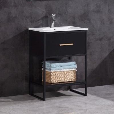 24 in. W x 18.5 in. D Vanity in Black with Cermiac Top in White with White Basin