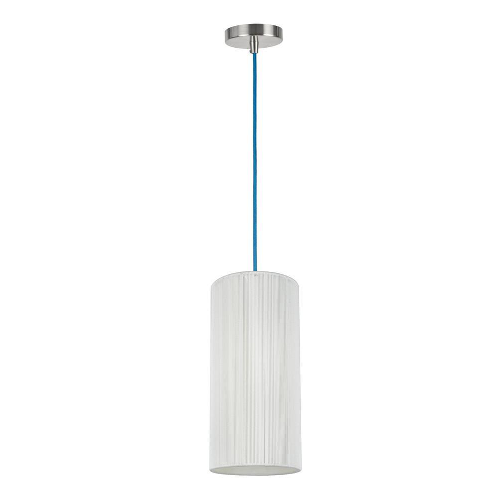 Aspen Creative Corporation 1-Light Satin Nickel Mini Pendant with Off White Shade