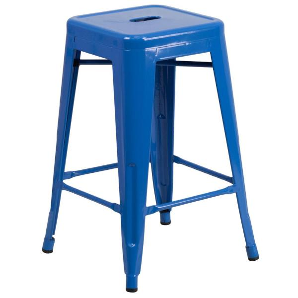 24 in. Blue Bar Stool