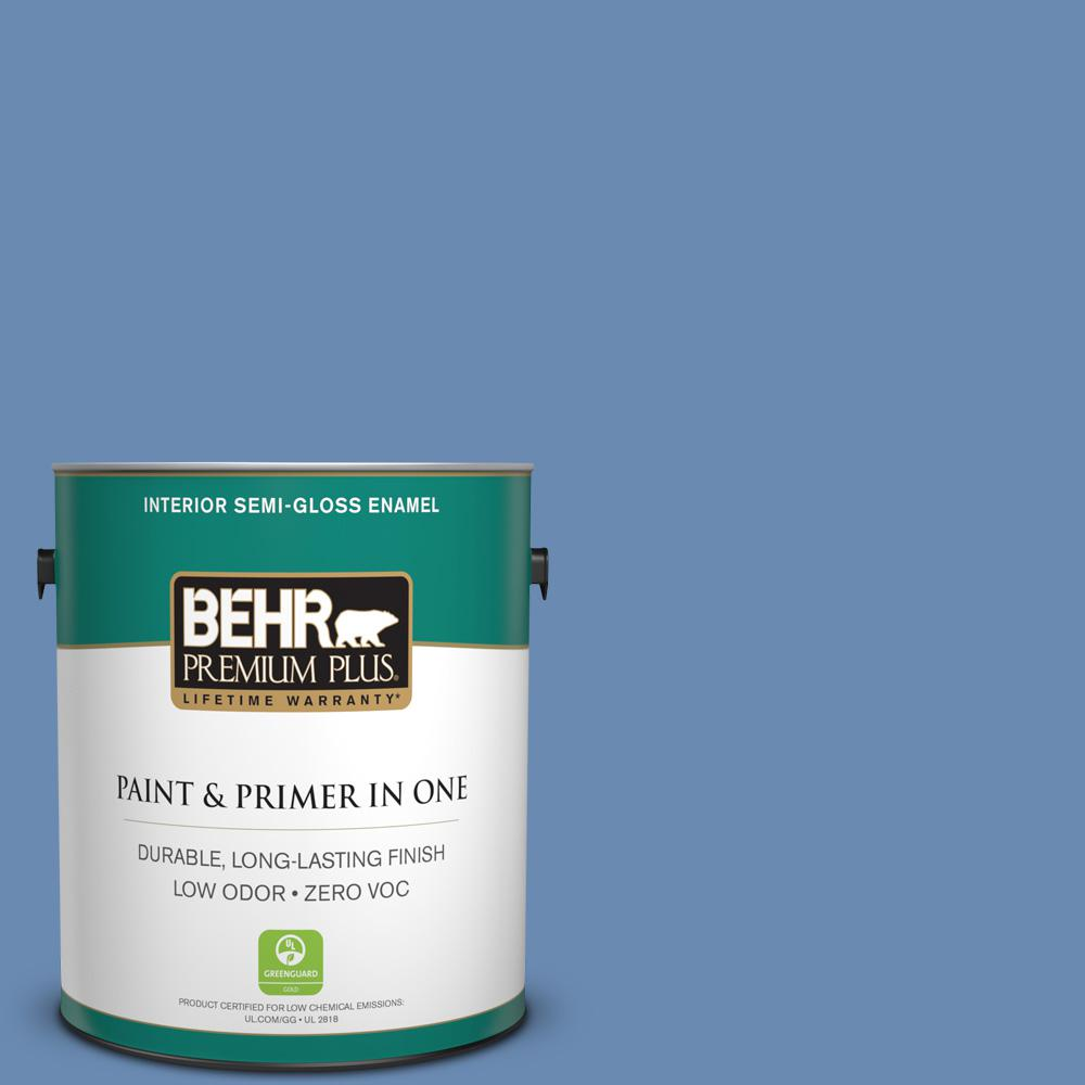 BEHR Premium Plus 1-gal. #590D-5 Windsurf Blue Zero VOC Semi-Gloss Enamel Interior Paint