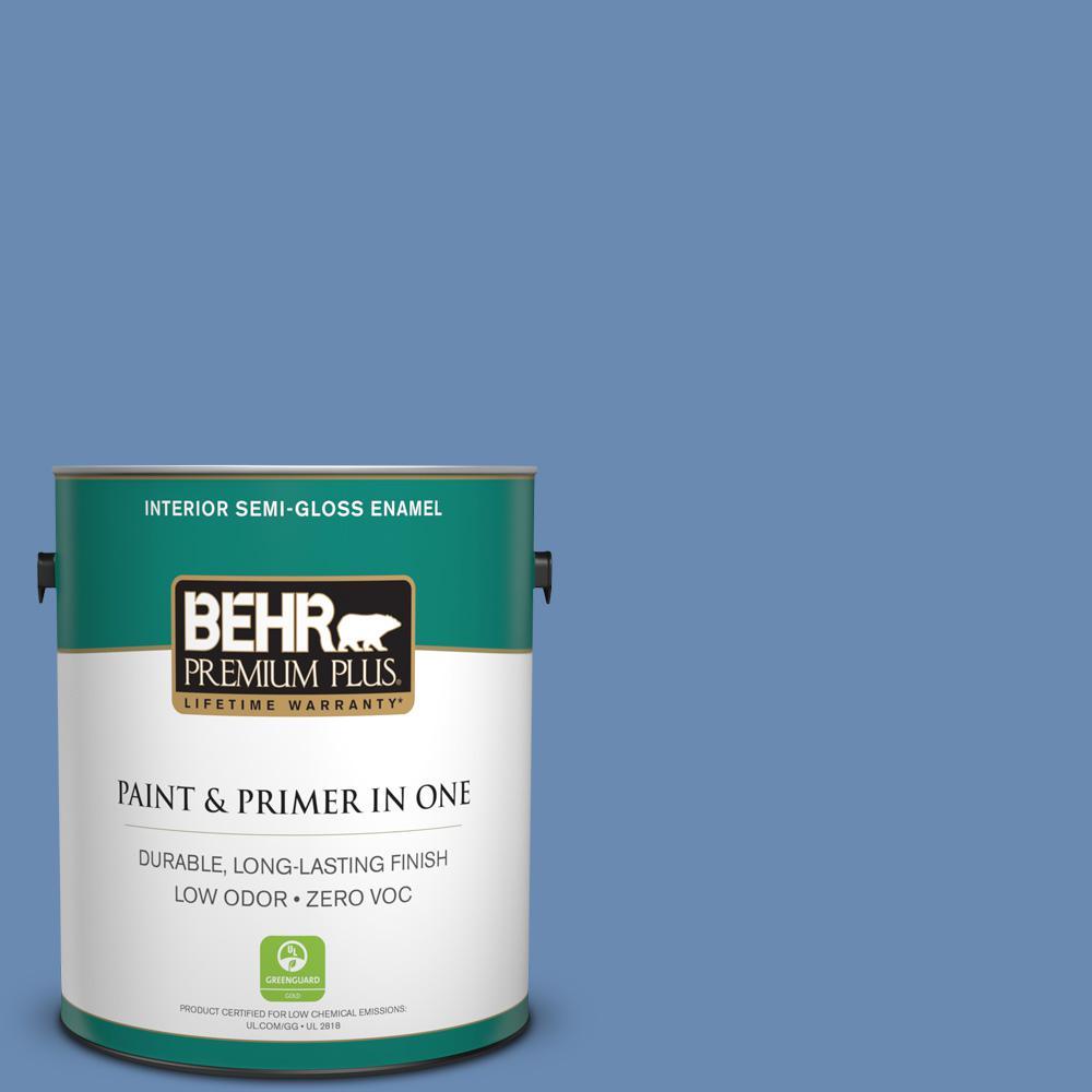 1-gal. #590D-5 Windsurf Blue Zero VOC Semi-Gloss Enamel Interior Paint