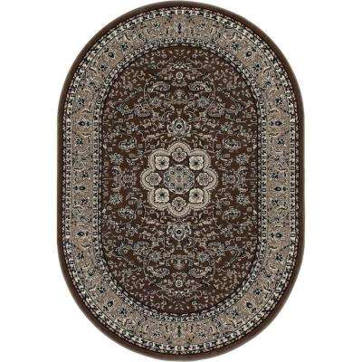Kensington Center Glow Brown 5 ft. x 8 ft. Oval Area Rug