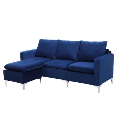 Blue Velvet 3-Seater L-Shaped Reversible Sectional Sofa with Metal Legs