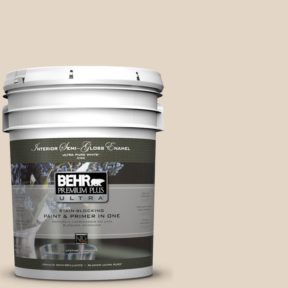 BEHR Premium Plus Ultra 5-gal. #N270-1 High Style Beige Semi-Gloss Enamel Interior Paint