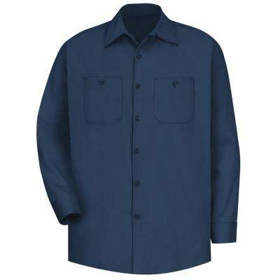 Men's Size 5XL (Tall) Navy Wrinkle-Resistant Cotton Work Shirt