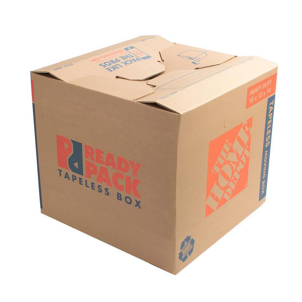 The Home Depot 22 in. L x 16 in. W x 15 in. D Heavy-Duty Ready Pack Medium Moving Box with Handles